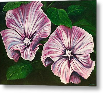 Silver Cup - Lavatera Metal Print by Lyndsey Hatchwell