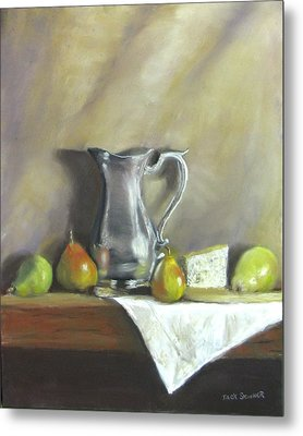 Silver Pitcher With Pears Metal Print by Jack Skinner