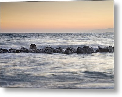 Silver Sea At Sunset Metal Print by Guido Montanes Castillo