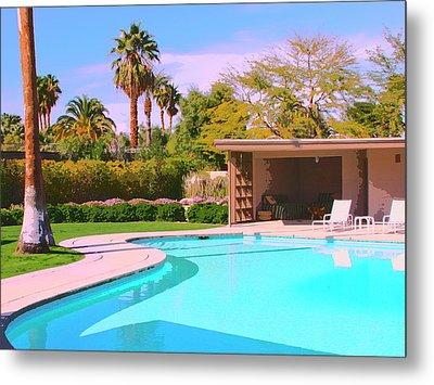 Sinatra Pool Cabana Palm Springs Metal Print by William Dey