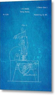 Singer Sewing Machine Patent Art 1851 Blueprint Metal Print by Ian Monk
