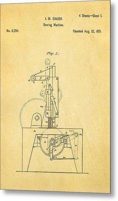 Singer Sewing Machine Patent Art 1851  Metal Print by Ian Monk