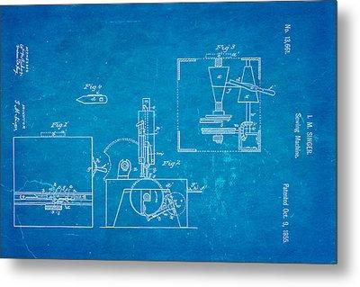 Singer Sewing Machine Patent Art 1855 Blueprint Metal Print by Ian Monk