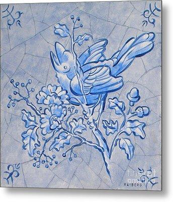 Singing Bird Delft Blue Metal Print by Raymond Van den Berg