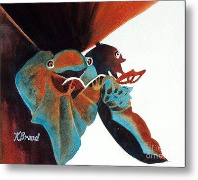 Singing Frog Duet 2 Metal Print by Kathy Braud