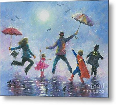 Singing In The Rain Super Hero Kids Metal Print by Vickie Wade