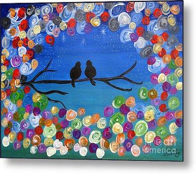 Singing To The Stars Tree Bird Art Painting Print Metal Print by Ella Kaye Dickey