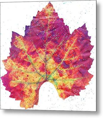 Single Autumn Leaf Metal Print by Anne-Elizabeth Whiteway
