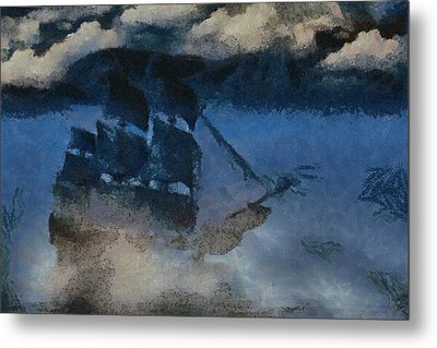 Sinking Sailer Metal Print by Ayse Deniz