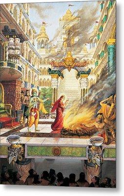 Sita Going To Fire Metal Print by Vrindavan Das