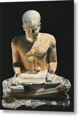 Sitted Scribe. Ca. 2575 Bc. Painted Metal Print by Everett