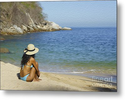 Sitting At The Beach Metal Print by Aged Pixel