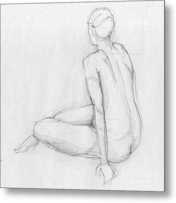 Sitting Figure Metal Print by Peut Etre