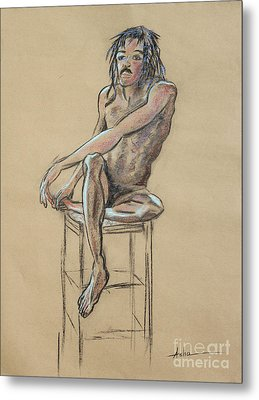 Sitting Man Holding His Foot Metal Print by Asha Carolyn Young