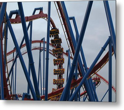 Six Flags Great Adventure - Medusa Roller Coaster - 12125 Metal Print by DC Photographer