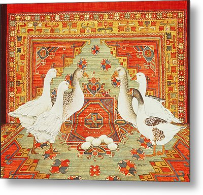 Six Geese A-laying Metal Print by Ditz