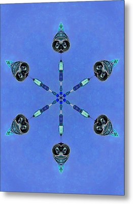 Six Heads Are Better Than One - Blue Metal Print by Wendy J St Christopher