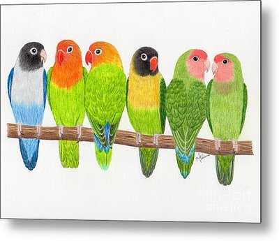 Six Lovebirds Metal Print by Rita Palmer