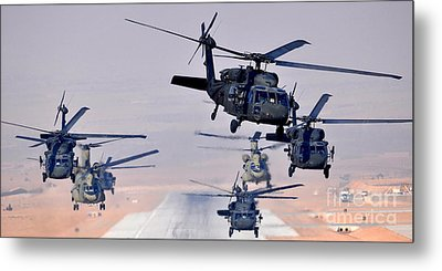 Six Uh-60l Black Hawks And Two Ch-47f Chinooks Metal Print by Paul Fearn