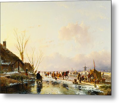 Skaters By A Booth On A Frozen River Metal Print by Andreas Schelfhout