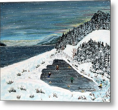 Skating On Pond Garden Metal Print by Barbara Griffin
