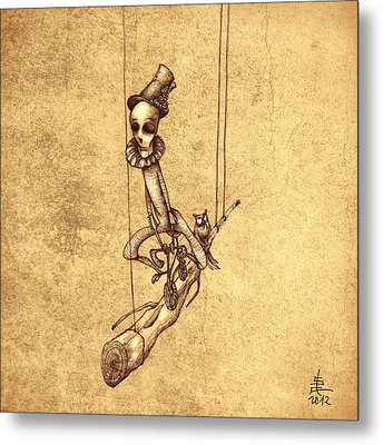 Skeleton On Cycle Metal Print by Autogiro Illustration