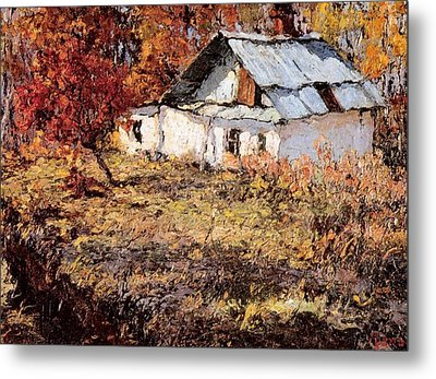 Sketch Of A Maple Tree And A Peasant House Metal Print by Jake Hartz