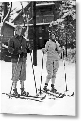 Skiing At Lake Placid In Ny Metal Print by Underwood Archives