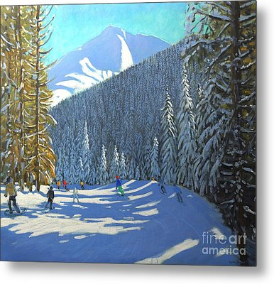 Skiing  Beauregard La Clusaz Metal Print by Andrew Macara