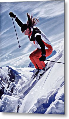 Skiing Down The Mountain In Red Metal Print by Elaine Plesser