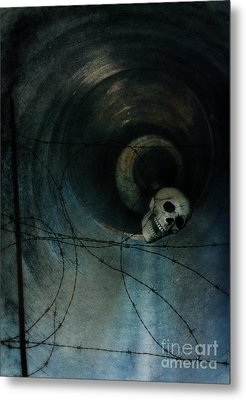 Skull In Drainpipe Metal Print by Jill Battaglia