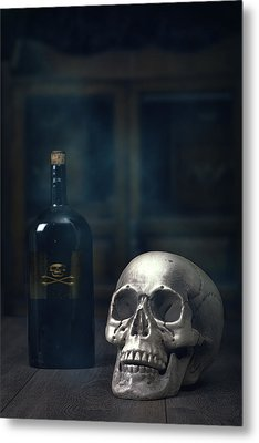 Skull With Poison Bottle Metal Print by Amanda Elwell