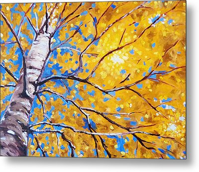 Sky Birch Metal Print by Nancy Merkle