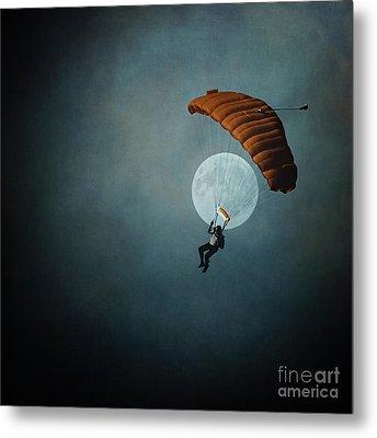 Skydiver's Moon Metal Print by Trish Mistric