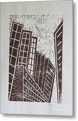 Skyscrapers - Block Print Metal Print by Christiane Schulze Art And Photography