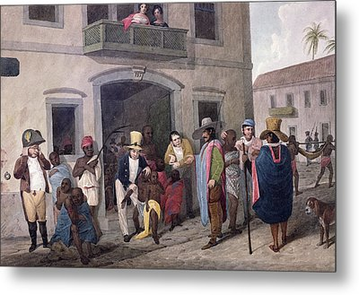 Slaves In Brazil Hand-coloured Engraving Metal Print by English School