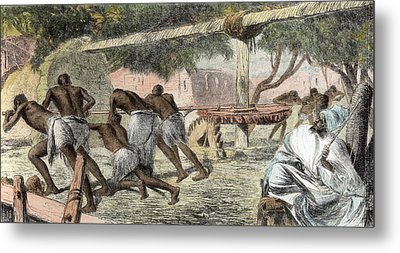 Slaves Irrigating By Water-wheel Metal Print by English School
