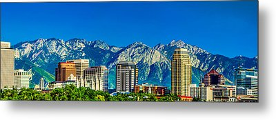 Slc Skyline With Lds Temple Metal Print by La Rae  Roberts