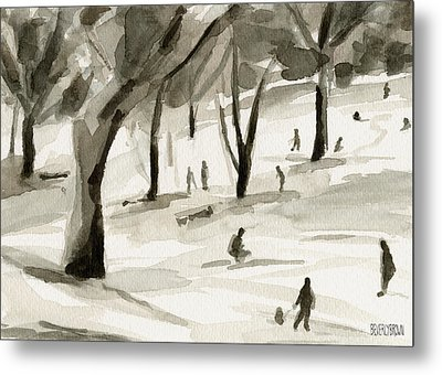 Sledding In The Snow Watercolor Painting Of Central Park Nyc Metal Print by Beverly Brown Prints