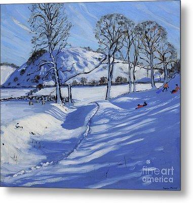 Sledging  Derbyshire Peak District Metal Print by Andrew Macara