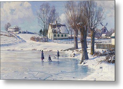 Sledging On A Frozen Pond Metal Print by Peder Monsted
