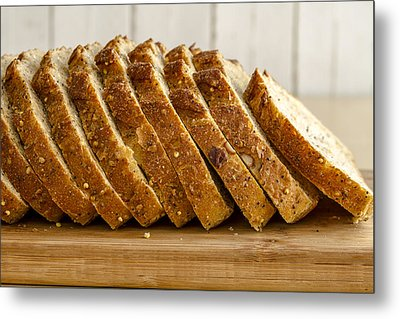 Slices Of Whole Grain Bread Metal Print by Teri Virbickis