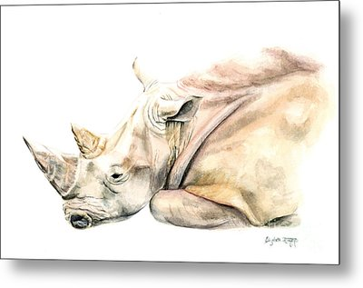 Small Colour Rhino Metal Print by Elizabeth Lock