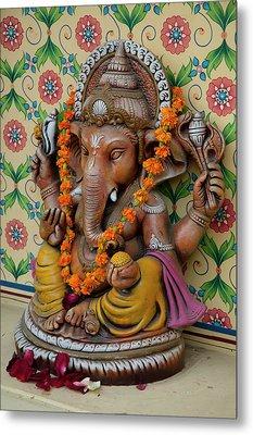 Small Shrine To Ganesh, Jaipur Metal Print by Inger Hogstrom
