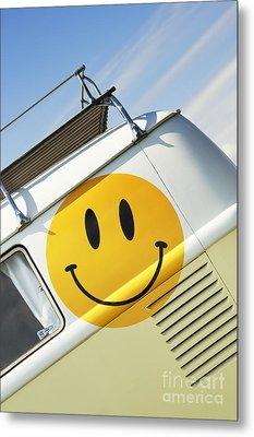 Smiley Face Vw Campervan Metal Print by Tim Gainey