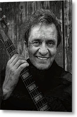 Smiling Johnny Cash Metal Print by Daniel Hagerman