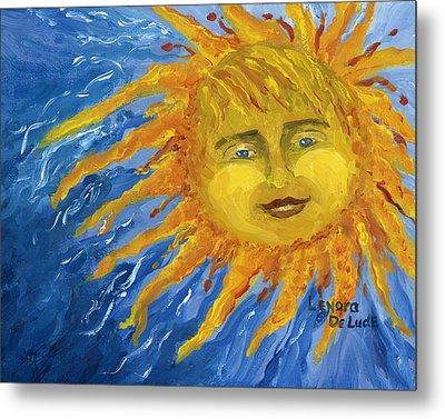 Smiling Yellow Sun In Blue Sky Metal Print by Lenora  De Lude