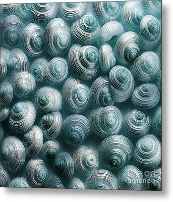 Snails Cyan Metal Print by Priska Wettstein