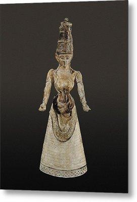 Snake Goddess. Ca. 1700 Bc - 1600 Bc Metal Print by Everett