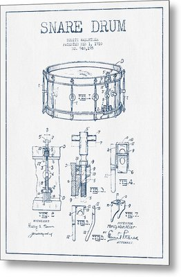 Snare Drum Patent Drawing From 1910  - Blue Ink Metal Print by Aged Pixel